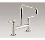 "Kohler K-7547-4-SN Purist Two Hole Deck Mount Bridge Kitchen Sink Faucet with 8-3/8"" Spout - Vibrant Polished Nickel"