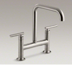 "Kohler Purist K-7547-4-VS Two Hole Deck Mount Bridge Kitchen Sink Faucet with 8-3/8"" Spout - Vibrant Stainless"
