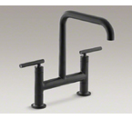 "Kohler Purist K-7547-4-BL Two Hole Deck Mount Bridge Kitchen Sink Faucet with 8-3/8"" Spout - Matte Black"