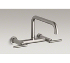 "Kohler K-7549-4-VS Purist Two Hole Wall Mount Bridge Kitchen Sink Faucet with 13-7/8"" Spout - Vibrant Stainless"