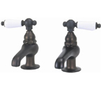 Elizabethan Classics BF02-89 Pair Basin Faucet - Satin Nickel With Porcelain Lever Handles