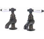"Elizabethan Classics BF03-96 Pair Basin Faucet - Oil Rubbed Bronze With ""Hot"" & ""Cold"" Porcelain Lever Handles"