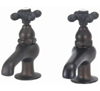 Elizabethan Classics BF04-100 Pair Basin Faucet - Oil Rubbed Bronze With Metal Cross Handles