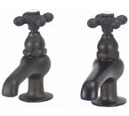 Elizabethan Classics BF04-99 Pair Basin Faucet - Satin Nickel With Metal Cross Handles