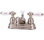 "Elizabethan Classics CS03SN Centerset Bathroom Faucet - Satin Nickel With ""Hot"" & ""Cold"" Porcelain Lever Handles"