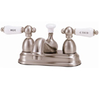 "Elizabethan Classics CS03ORB Centerset Bathroom Faucet - Oil Rubbed Bronze With ""Hot"" & ""Cold"" Porcelain Lever Handles"