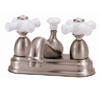 Elizabethan Classics CS05PB Centerset Bathroom Faucet - Polished Brass With Porcelain Cross Handles