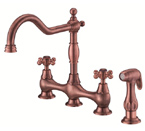 Danze D404557AC Opulence Two Handle Copper Bridge Faucet W/ Spray