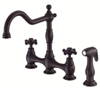 Danze D404557BS Opulence Two Handle Satin Black Bridge Faucet W/ Spray