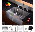 Kraus Stainless Steel 30 inch Farmhouse Single Bowl Kitchen Sink with Kitchen Faucet and Soap Dispenser KHF200-30-KPF2110-KSD20