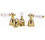 "Elizabethan Classics MW03PB Minispread Faucet - Polished Brass With ""Hot"" & ""Cold"" Porcelain Lever Handles"