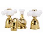 Elizabethan Classics MW05SN Minispread Faucet - Satin Nickel With Porcelain Cross Handles