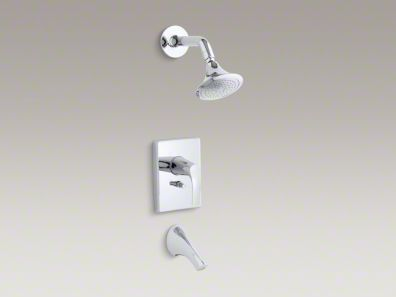 Kohler Symbol® Rite-Temp® pressure-balancing bath and shower faucet trim with push-button diverter, valve not included K-T18488-4