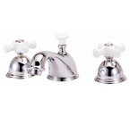 Elizabethan Classics WS05SN Widespread Faucet - Satin Nickel With Porcelain Cross Handles