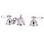 Elizabethan Classics WS06SN Widespread Faucet - Satin Nickel With Porcelain Lever Handles