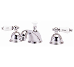 """Elizabethan Classics WS07SN Widespread Faucet - Satin Nickel With """"Hot"""" & """"Cold"""" Porcelain Lever Handles"""