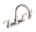 Moen Traditional Spot Resist Stainless Two Handle High Arc Kitchen Faucet - CA87004SRS