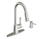 Moen Lindley Spot Resist Stainless One Handle High Arc Pulldown Kitchen Faucet - CA87012SRS