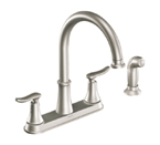 Moen Solidad Spot Resist Stainless Two Handle High Arc Kitchen Faucet - CA87015SRS