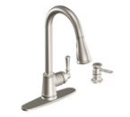 Moen Lancaster Spot Resist Stainless One Handle High Arc Pulldown Kitchen Faucet - CA87020SRS