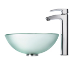 Kraus Frosted 14 inch Glass Vessel Sink and Visio Bathroom Faucet Chrome C-GV-101FR-14-12mm-1810CH
