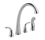 Delta 2480-DST Pilar Two Handle Widespread Kitchen Faucet with Spray - Chrome