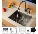Kraus Stainless Steel 23 inch Undermount Single Bowl Kitchen Sink with Kitchen Faucet and Soap Dispenser KHU101-23-KPF2120-KSD20