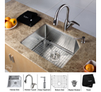 Kraus Stainless Steel 23 inch Undermount Single Bowl Kitchen Sink with Kitchen Faucet and Soap Dispenser KHU121-23-KPF2121-SD20