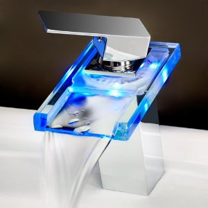 LED Chrome Bathroom Faucet - Temperature Sensitive Single Handle Centerset