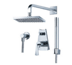 FLUID F1141BN Fan Series Fixed and Hand Shower Set - Brushed Nickel